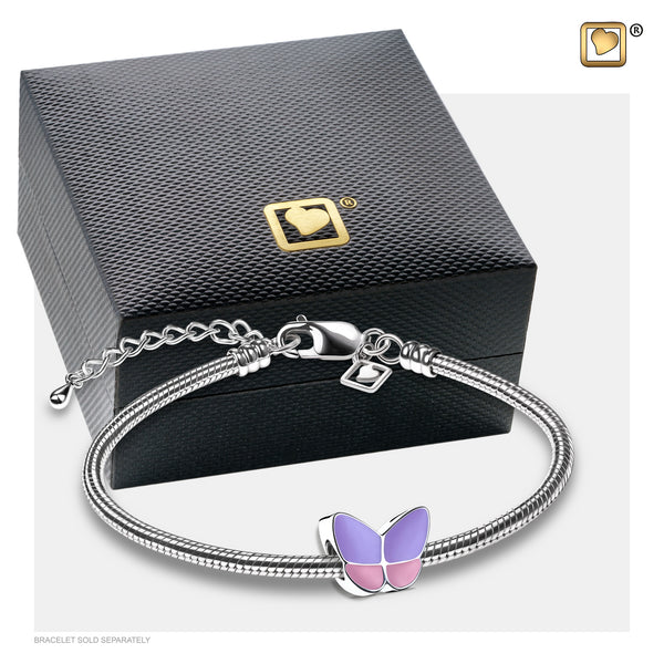 Bead: Wings Of Hope Lavender - Enamel Rhodium Plated - BD2090