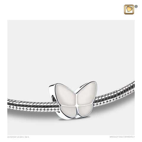 Bead: Wings Of Hope Pearl - Enamel Rhodium Plated - BD2092
