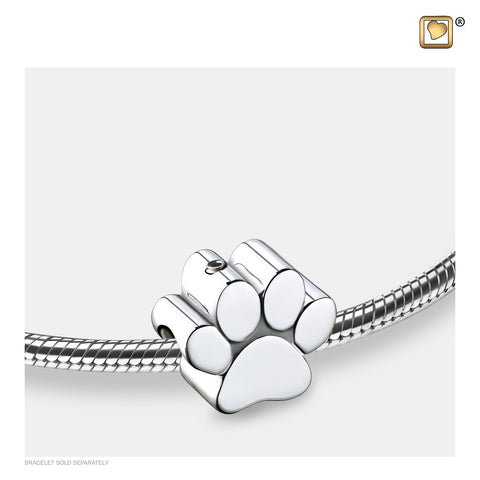 Bead: Paw - Rhodium Plated - BD2102