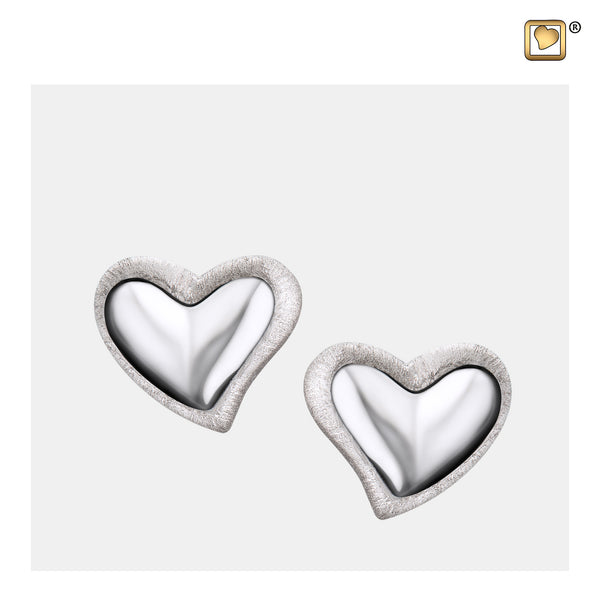 Stud Earrings: Leaning Heart - Rhodium Plated Two Tone - ER1000