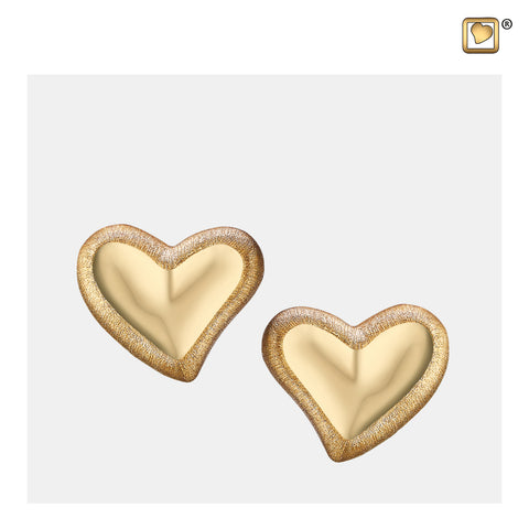Stud Earrings: Leaning Heart - Gold Vermeil Two Tone - ER1001