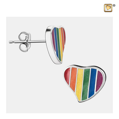 Stud Earrings: Pride Rainbow - Enamel Rhodium Plated - ER1003