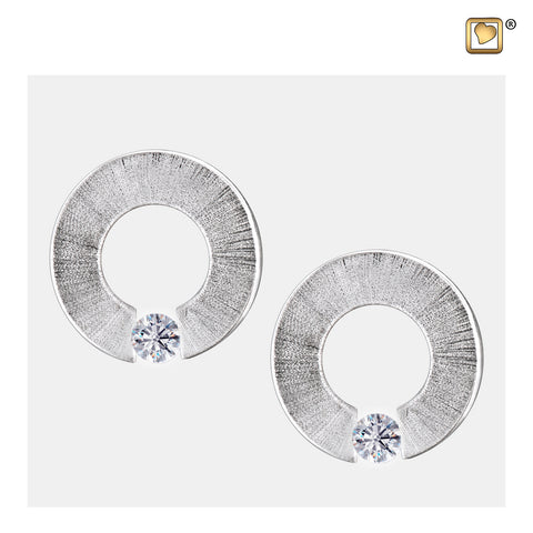 Stud Earrings: Omega - Rhodium Plated Two Tone w/Clear Crystal - ER1040