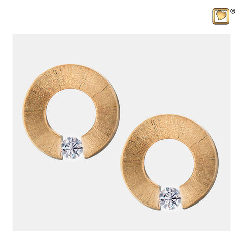 Stud Earrings: Omega - Gold Vermeil Two Tone w/Clear Crystal - ER1041