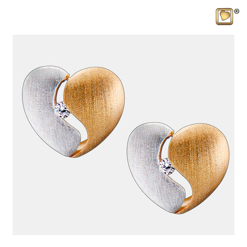 Stud Earrings: Heartfelt - Gold Vermeil Two Tone w/Clear Crystal - ER1050