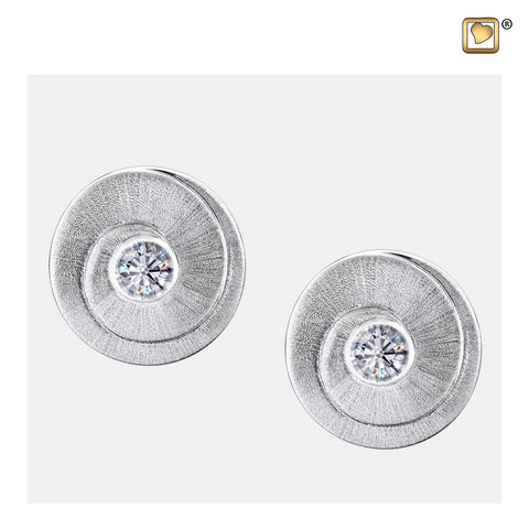 Stud Earrings: Eternity - Rhodium Plated Two Tone w/Clear Crystal - ER1060