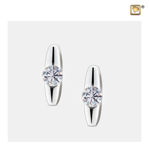 Stud Earrings: Hope - Rhodium Plated w/Clear Crystal - ER1080