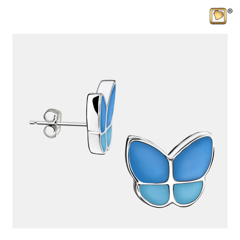 Stud Earrings: Wings Of Hope Blue - Enamel Rhodium Plated - ER1201