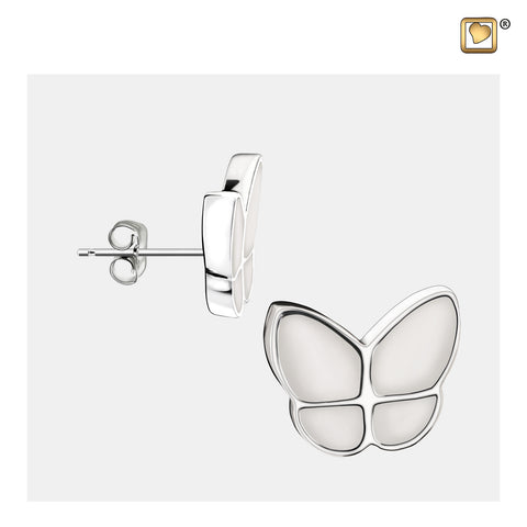Stud Earrings: Wings Of Hope Pearl - Enamel Rhodium Plated - ER1202