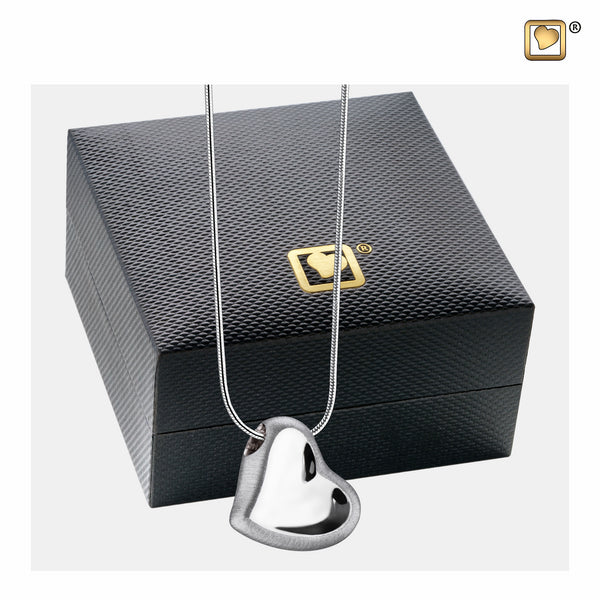 Pendant: Leaning Heart - Rhodium Plated Two Tone - PD1000