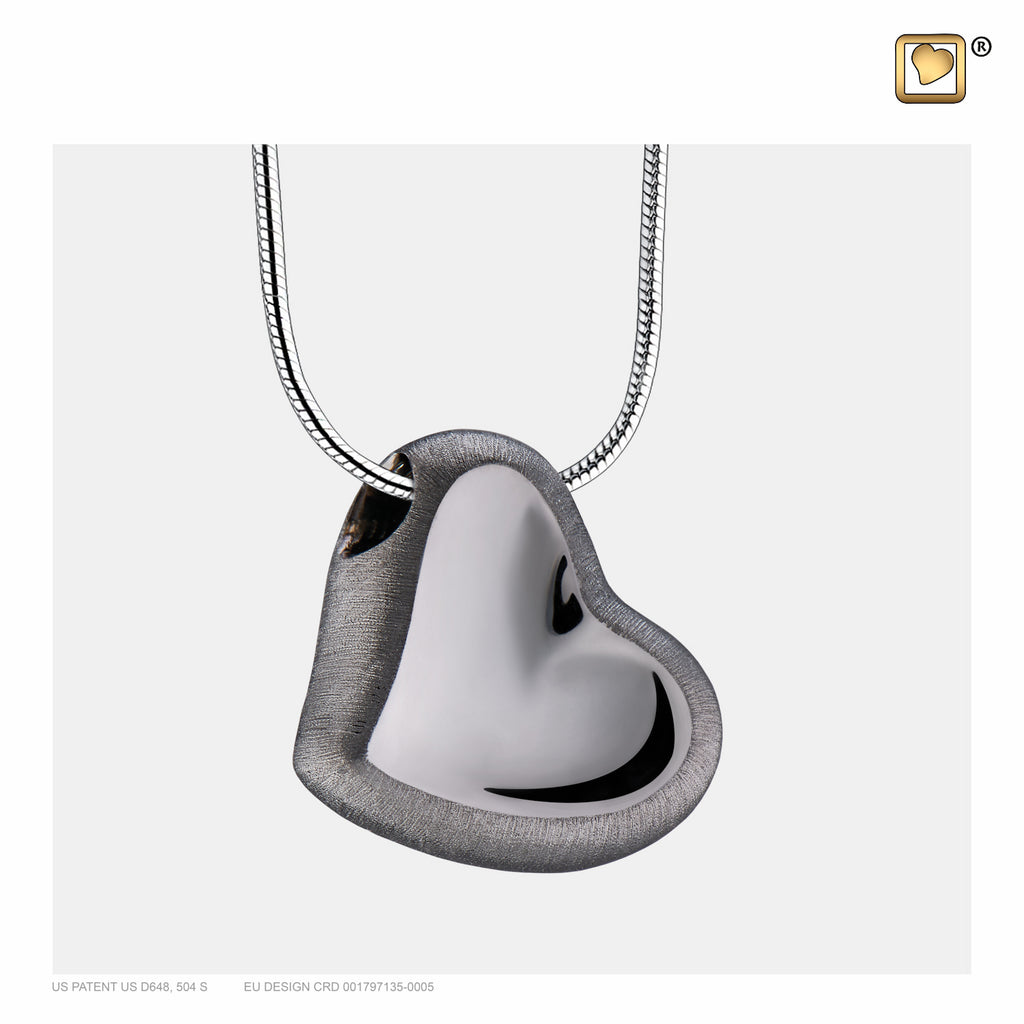 Pendant: Leaning Heart - Ruthenium Plated Two Tone - PD1002