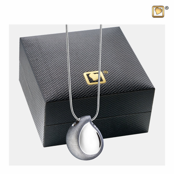 Pendant: TearDrop - Rhodium Plated Two Tone - PD1020