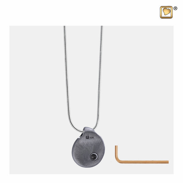 Pendant: TearDrop - Ruthenium Plated Two Tone - PD1023