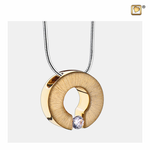 Pendant: Omega - Gold Vermeil Two Tone w/Clear Crystal - PD1041