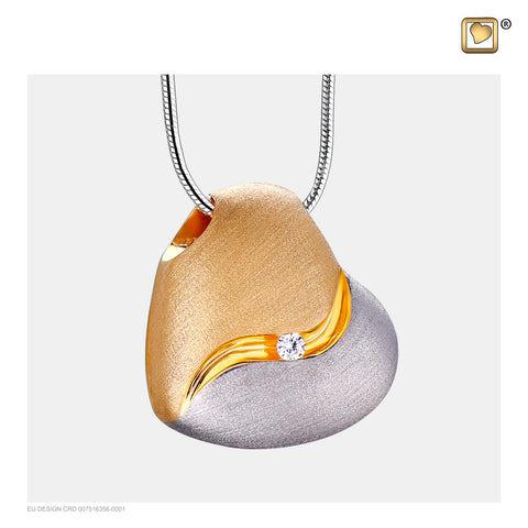 Pendant - Heartfelt Silver-Gold Vermeil (Brushed w/Crystal) - PD1050