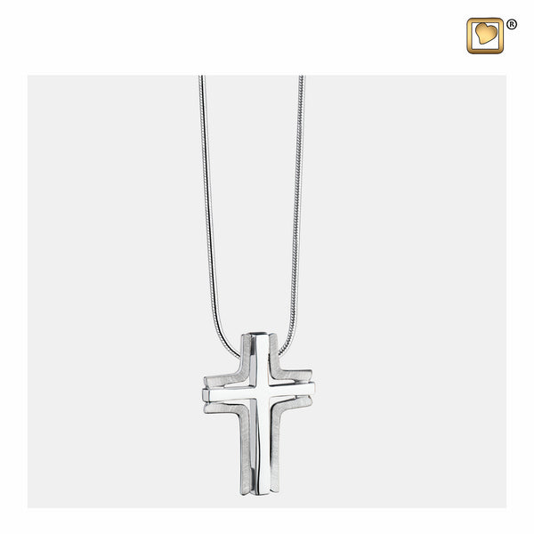 Pendant: Cross Elegant - Rhodium Plated Two Tone - PD1130