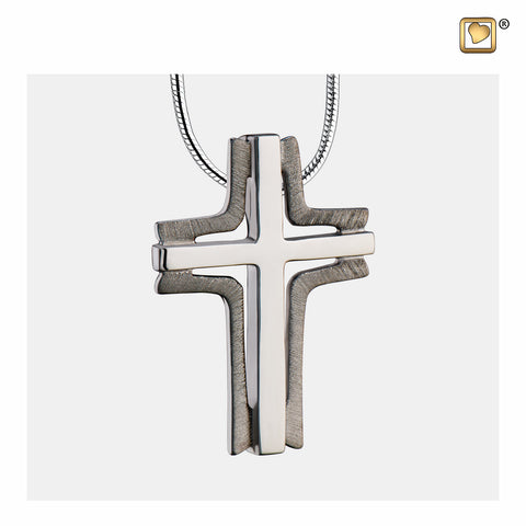 Pendant: Cross Elegant - Ruthenium Plated Two Tone - PD1131