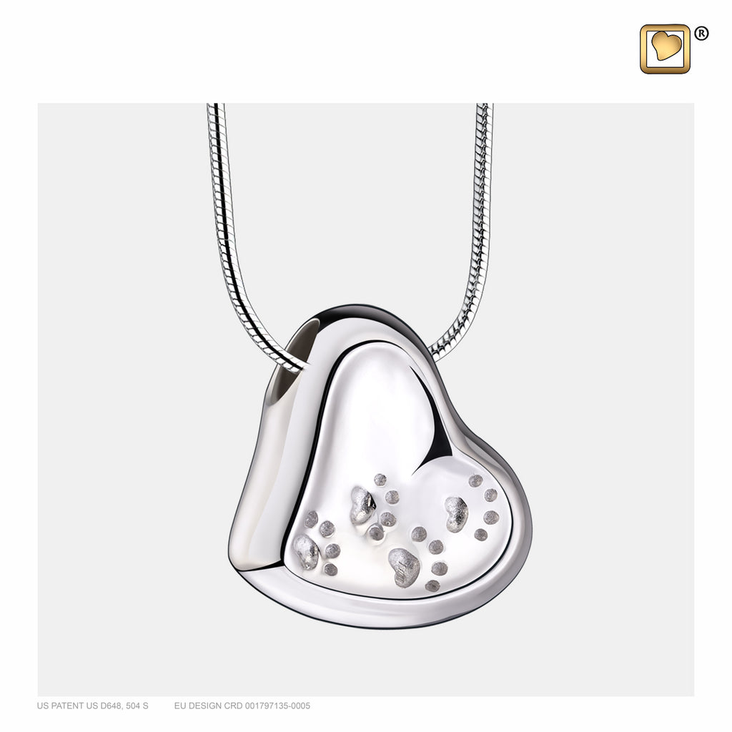 Pendant: Leaning Heart w/Paw Prints - Rhodium Plated - PD1170