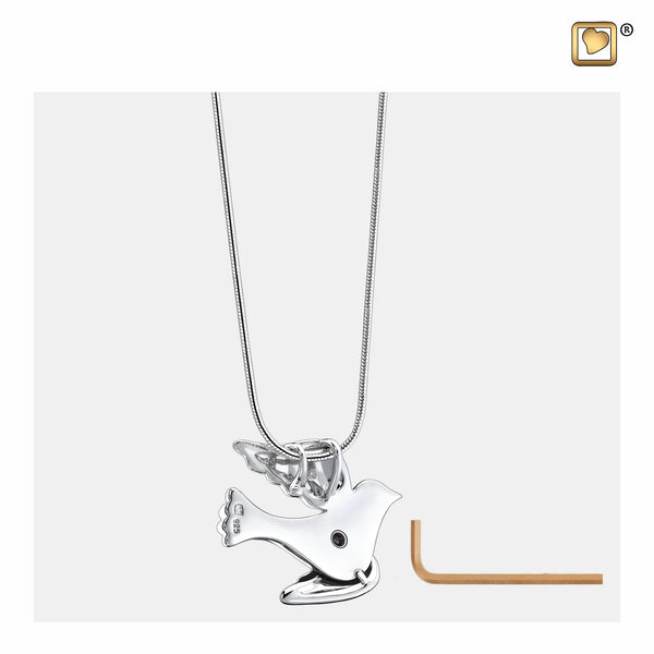 Pendant: Flying Dove - Rhodium Plated Two Tone - PD1190