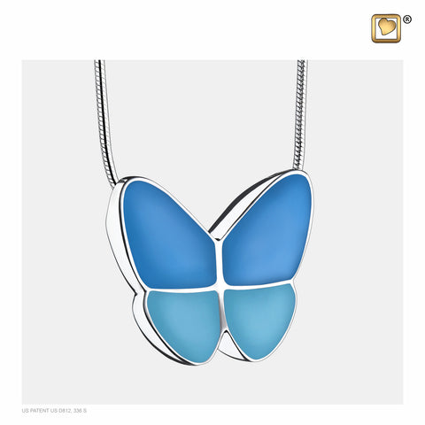 Pendant: Wings Of Hope Blue - Enamel Rhodium Plated - PD1201