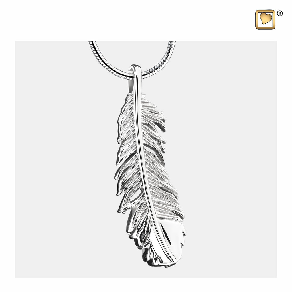 Pendant: Feather - Rhodium Plated - PD1220