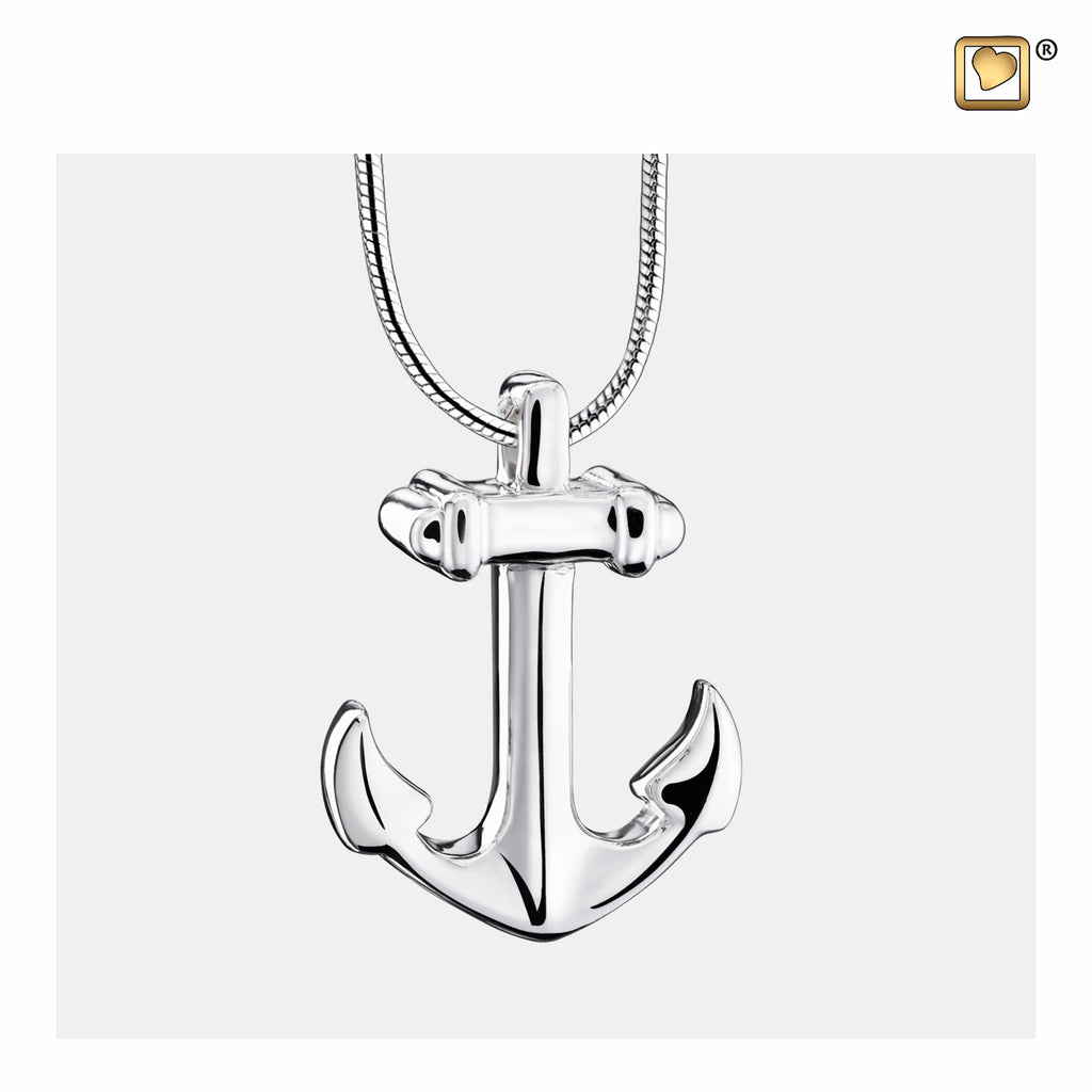 Pendant: Anchor - Rhodium Plated - PD1240