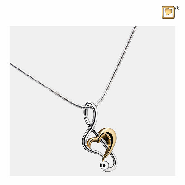 Pendant: Treble Clef Heart - Rhodium Plated Gold Vermeil Two Tone - PD1250