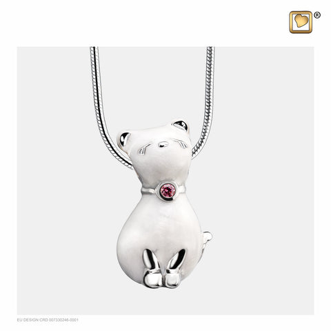 Pendant: Princess Cat Pearl - Enamel Rhodium Plated w/Pink Swarovski Crystal - PD1260