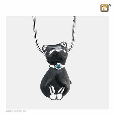 Pendant: Princess Cat Midnight - Enamel Rhodium Plated w/Sapphire Swarovski Crystal - PD1261