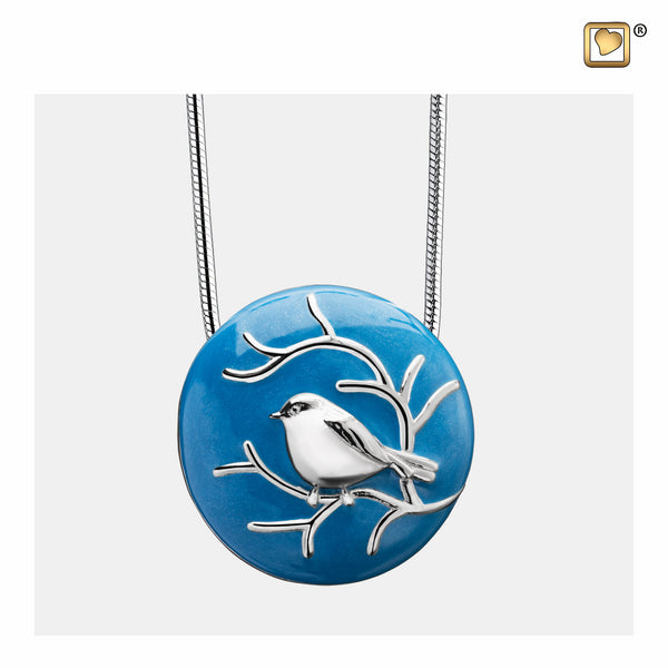 Pendant: Blessing Birds - Blue Enamel Rhodium Plated - PD1271