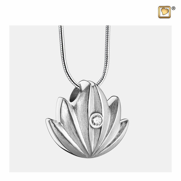 Pendant: Lotus - Rhodium Plated Two Tone w/Clear Crystal - PD1300