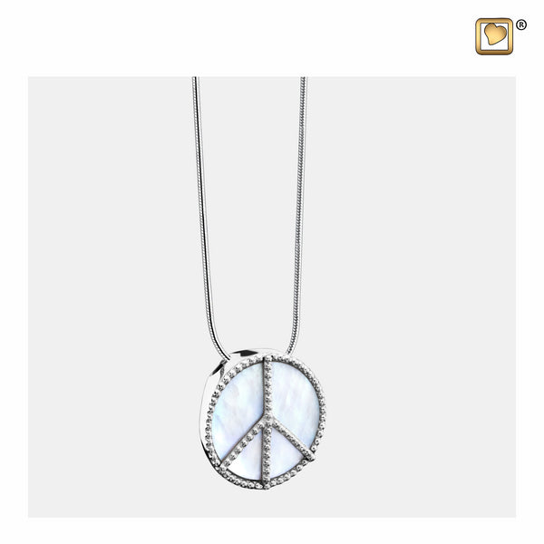 Pendant: Peace Mother of Pearl - Rhodium Plated - PD1320
