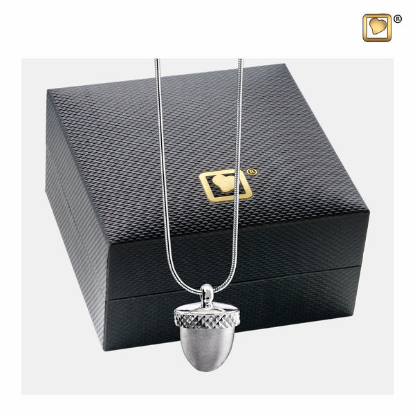 Pendant: Acorn - Rhodium Plated Two Tone - PD1340