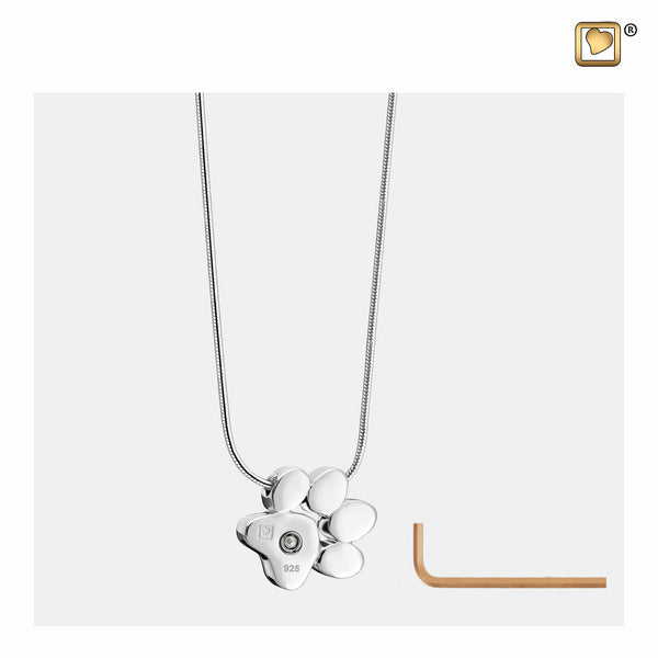 Pendant: Paw - Rhodium Plated  - PD1400