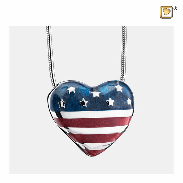 Pendant: Stars & Stripes - Enamel Rhodium Plated - PD1430