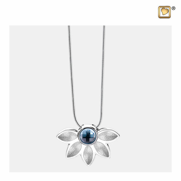 Pendant:  Azure - Rhodium Plated Two Tone w/Blue Swarovski Crystal - PD1450