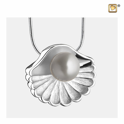 Pendant: Sea Shell Pearl - Rhodium Plated Two Tone - PD1480