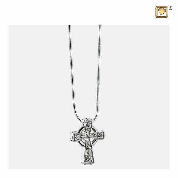 Pendant: Celtic Cross w/Knots - Rhodium Plated Two Tone - PD1492