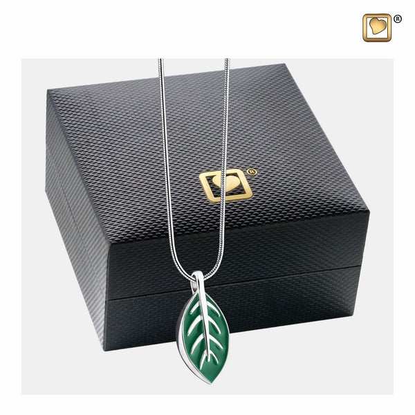 Pendant: Leaf - Enamel Rhodium Plated - PD1560