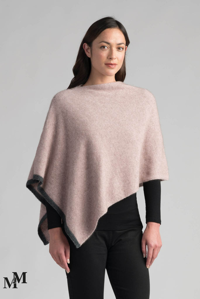 Merinomink Two Tone Poncho in Wistful-Slate