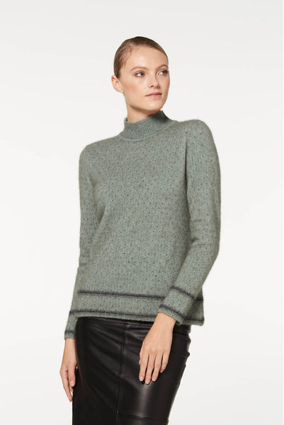 Two Tone Sweater in Mint 100% New Zealand Made Merino Wool & Possum Fur Knitwear