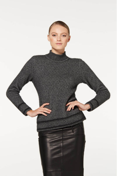 Two Tone Sweater Charcoal/Black in 100% New Zealand Made Merino Wool & Possum Fur Knitwear