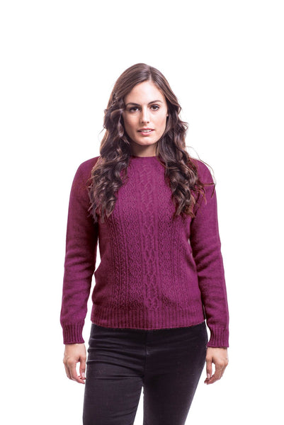 Crew Neck Jersey in Berry, 100% New Zealand Made Merino Wool & Possum Fur Knitwear