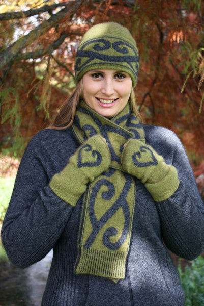 Aroha Beanie in Olive, 100% New Zealand Made Merino Wool & Possum Fur Knitwear