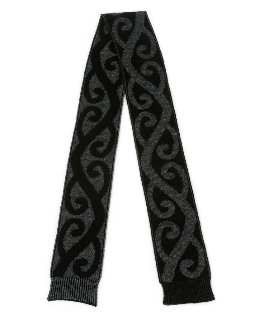 Aroha Scarf in Charcoal, 100% New Zealand Made Merino Wool & Possum Fur Knitwear
