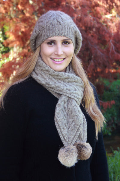 Cable Scarf in Natural, 100% New Zealand Made Merino Wool & Possum Fur Knitwear
