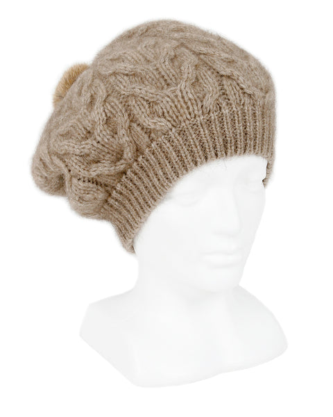 Cable Beanie in Natural, 100% New Zealand Made Merino Wool & Possum Fur Knitwear