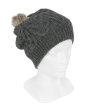 Load image into Gallery viewer, Cable Beanie in Charcoal, 100% New Zealand Made Merino Wool & Possum Fur Knitwear