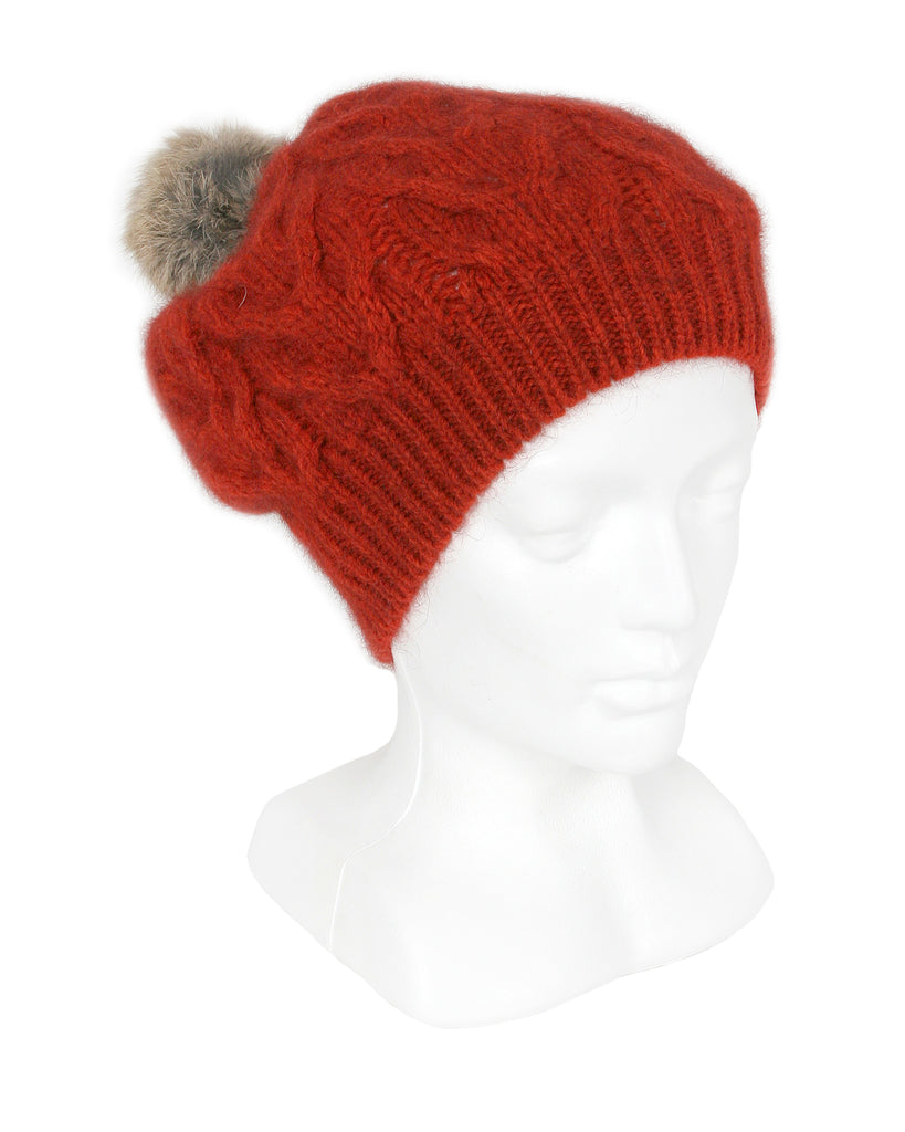 Cable Beanie in Pumpkin, 100% New Zealand Made Merino Wool & Possum Fur Knitwear