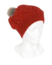 Load image into Gallery viewer, Cable Beanie in Pumpkin, 100% New Zealand Made Merino Wool & Possum Fur Knitwear